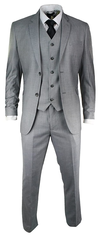 Mens Slim Fit Suit Light Grey Stitch Trim 3 Piece Work Office or ...