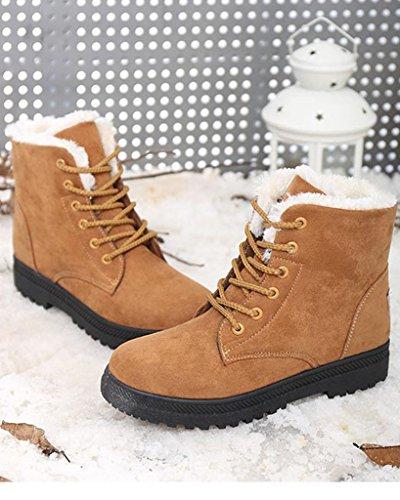 Botines Botas Sintética Botas marrón Chic Planos Arriba de Cordón Gamuza Fur Mujer Nieve Minetom Calentar wgxq5ISUS