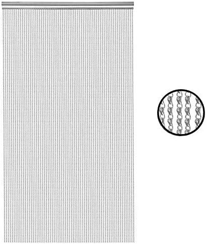 BriSunshine - Cortina para Puerta de Aluminio Plateado, 210 x 90 cm, Doble Gancho, Color Plateado