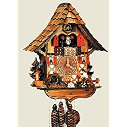 14 Chalet Cuckoo Clock with Moving Woodchopper, Water Wheel and Dancing Children