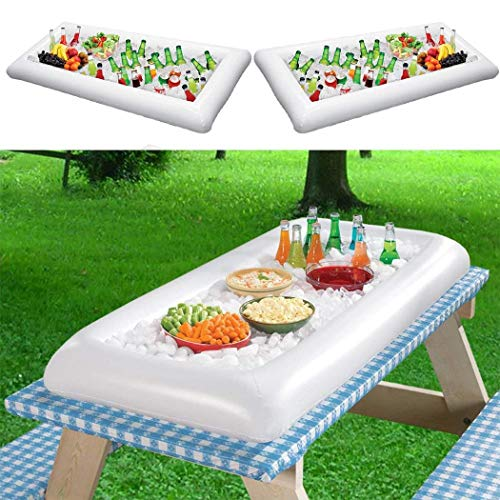Hions PVC Inflatable Ice Bar Water Entertainment Salad Plate Stand Outdoor Ice Bucket Bar Tools & Glasses