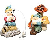 Giftcraft Set of 2 Miniature Fairy Garden Gnomes - Fishing and Napping