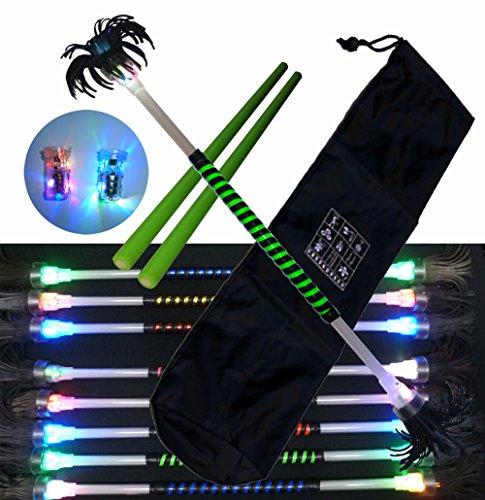 Flowerstick Kit Tag/Nacht (leuchtend) mit neon gruenem Band mit ein paar Sticks aus Silicon und einer Tasche. neon gruen