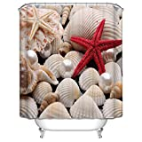 DebbieBrown Width X Height / 72 X 72 Inches / W * H 180 By 180 Cm Starfish And Shell Christmas Shower Curtains Polyester Fabric Ornament And Gift To Gf Girls Mother Him Kids. Wipe Clean