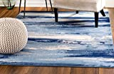 MADISON COLLECTION 5I-KY7Y-QBSH 408 Modern Abstract Blue Area Rug Clearance Soft and Durable Pile. Size Option (5' x 7'), 5' x 7'