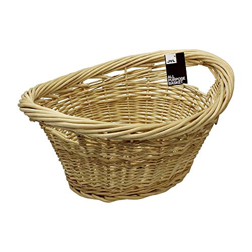 JVL Willow All Purpose Laundry Basket with Inset Handles, Wood, 58 x 43 x 25 cm (Willow Natural Wood)