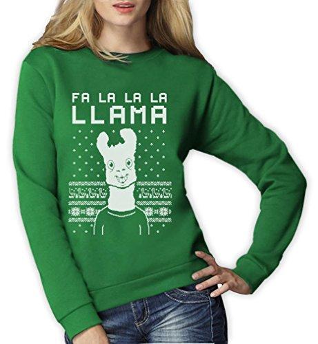 FA la la llama feo jersey de Navidad Xmas Funny Mujer Sudadera Verde