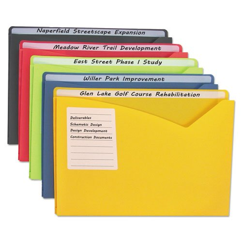 Write-On Expanding Poly File Folders, 1'' Exp., Letter, Assorted Colors, 25/BX, Sold as 1 Box