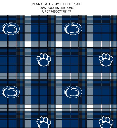 Penn State College Fleece - Sykel Enterprises 0313879 Collegiate Pennsylvania State University Fleece Plaid Fabric by the Yard, Blue/White