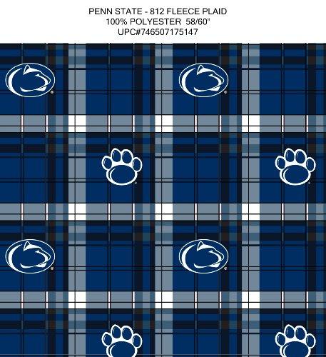 Sykel Enterprises 0313879 Collegiate Pennsylvania State University Fleece Plaid Fabric by The Yard, Blue/White