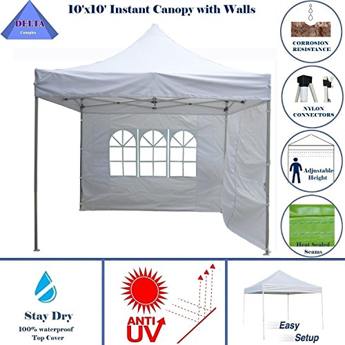 10'x10′ Ez Pop up Canopy Party Tent Instant Gazebo 100% Waterproof Top with 4 Removable White – E Model By DELTA Canopies
