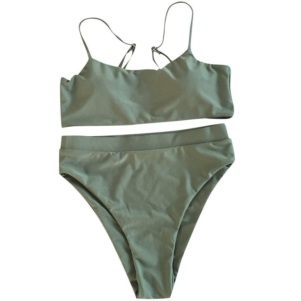 Damen Bandage Bikini Set Gepolsterter Bh Strandkleidung Riemchen Schwimmanzug DE