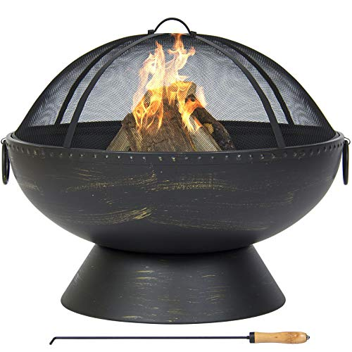 (Best Choice Products Large Fire Pit Bowl With Handles, Spark Screen And Poker)