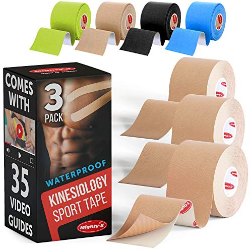 Sports Tape Kinesiology * Comes with 35 Video Guides * 3 Uncut Rolls * Beige Waterproof Kinesiology Tape * Each Kinetic Tape Roll - 2in*16.5ft * Tape Kinesiology ()