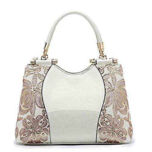 ZLL Women's bag Bolsa De Asas Del Cuero De Patente De Las Mujeres Bolso De Hombro Bolso Perkin De La Lentejuela Atmosférica White