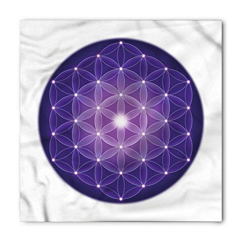 Ambesonne Unisex Bandana, Sacred Geometry Traditional Design, Purple