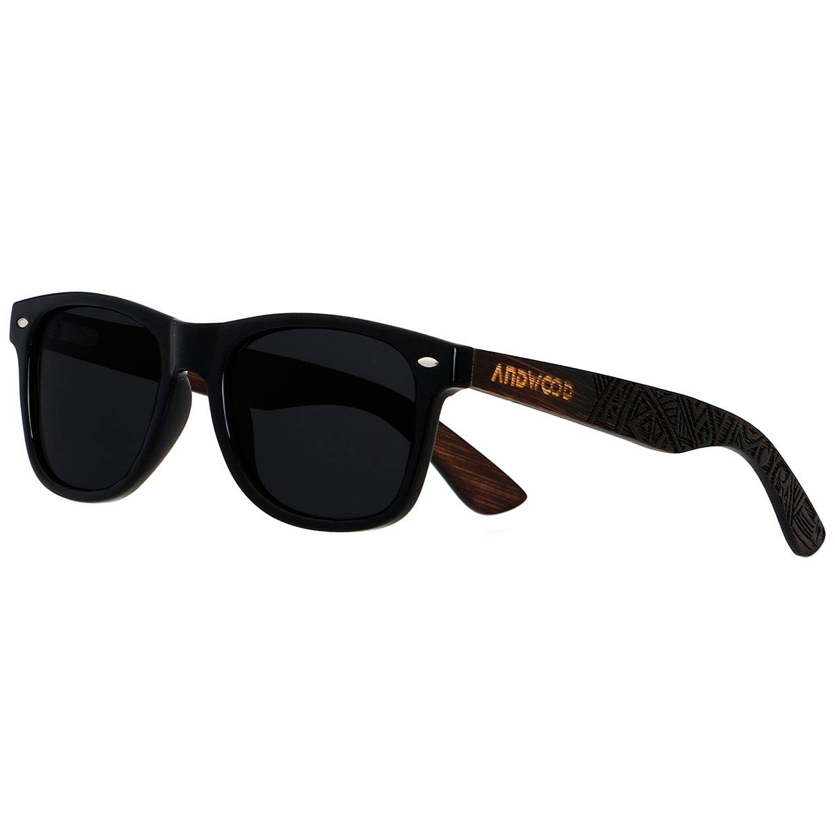 ANDWOOD Polarisierte Sonnenbrille f/ür M/änner Frauen UV-Schutz Holz Bambus Spiegel