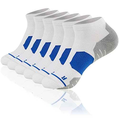 Christmas Running Socks Low Cut, MUSCLE WAY Warm Cushioned Ankle Cycling Marathon Tennis Athletic Sport Short Socks for Women Men Christmas Present Socks White 6 Pairs by MUSCLE WAY