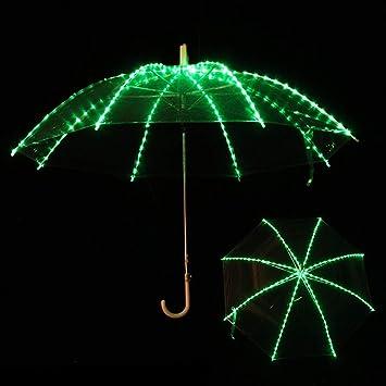 Wgwioo Paraguas Transparente Que Brilla Intensamente, Paraguas Luminoso De La Luz del LED para Las