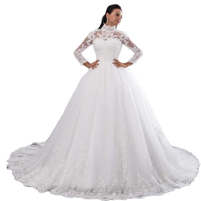 BKSKK High Neck IIIusion Lace Wedding Dress Long Sleeves ...
