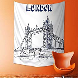 aolankaili Wall Tapestry Flower Tapestry Floral Words Tapestry Wall Hanging Historical Big Ben and Bus Great Bell Clock Tower UK Europe Street Landmark Tapestry Wall Decor Quote Tapestry