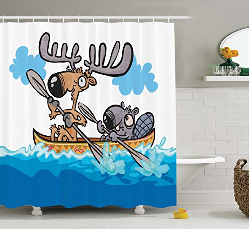 Moose Shower Curtain Set by Ambesonne, American Animals Boat Beaver Friend Canoe River Fun Native Characters Kids Cartoon, Fabric Bathroom Decor with Hooks, 70 Inches, Blue White Brown (Moose Cartoon)