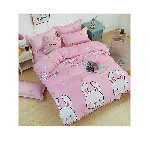 Radish Bunny, Pink Twin 60 x80  KFZ Hydro Cotton Bed Set Twin Full Queen King Set Duvet Cover(No Comforter) Flat Sheet Pillowcase HDD1904 Radish Bunny Yellow Duck Design Sheet Sets (Yellow Duck, Yellow, Full 70 x86 )