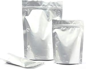 H88 50 Pcs Resealable Silver Flat Zip Lock Mylar Bag Aluminum Foil Pouches Food Storage Bags Ziplock Bag 7.9in x 4.7in(L)