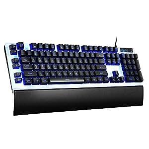 pictek gaming keyboard wired led backlit mechanical feeling programmable keyboard. Black Bedroom Furniture Sets. Home Design Ideas