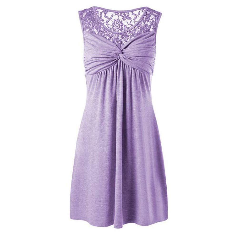 iLUGU O-Neck Sleeveless Mini Dress for Women Kont Pleated A-Line Dress Pageant Dresses for Women Purple