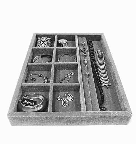 Jewelry Box drawer insert, Jewelry Organizer Tray, Wood and Velvet Tray Organizer 10 Compartments, Protects Jewelry, Drawer Insertable, Stackable and Durable, Made In USA 15