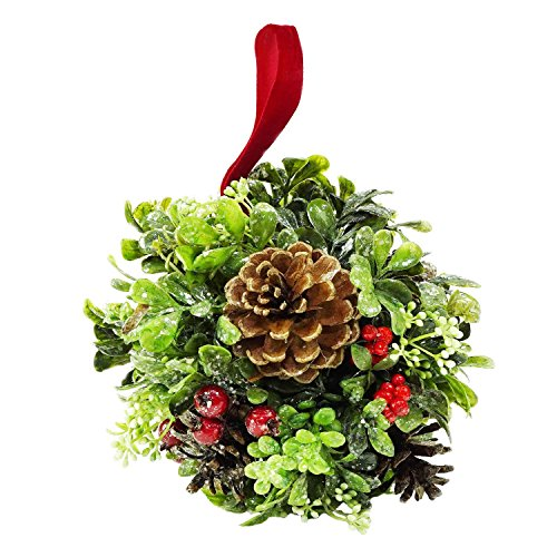 ial Boxwood, Berry & Pine Cone Christmas Kissing Topiary Ball (Pinecone Topiary)