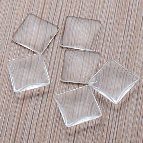 - DNHCLL 20PCS 1 inch/25mm Square Time Gem Glass Patch Arc Round Transparent Glass Crystal DIY Jewelry Accessories Handmade Materials, for Cameo Pendants Photo Jewelry Necklaces.