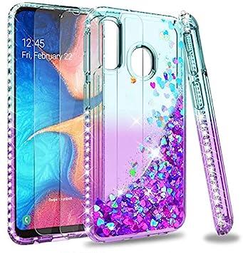 LeYi Coque pour Samsung A20e avec Verre Trempé [Lot de 2], Fille Personnalisé Liquide Paillette Transparente Silicone Antichoc Kawaii Protection Etui ...