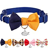 """Blueberry Pet Pack of 1 Timeless Navy Blue & Orange Breakaway Handmade Bow Tie Cat Collar with European Crystal Bead on Fish Charm, Adjustable Collars for Boy, Neck 9""""-13"""""""
