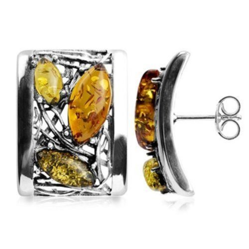 Multicolor Amber Sterling Silver Classic Earrings by Ian & Valeri Co.