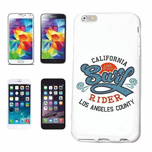"""cas de téléphone iPhone 6S """"CALIFORNIA LONG BEACH LOS ANGELES BEACH SURFING SURF LONGBOARD ONDES DE SURF SHOP DEBUTANT"""" Hard Case Cover Téléphone Covers Smart Cover pour Apple iPhone en blanc"""
