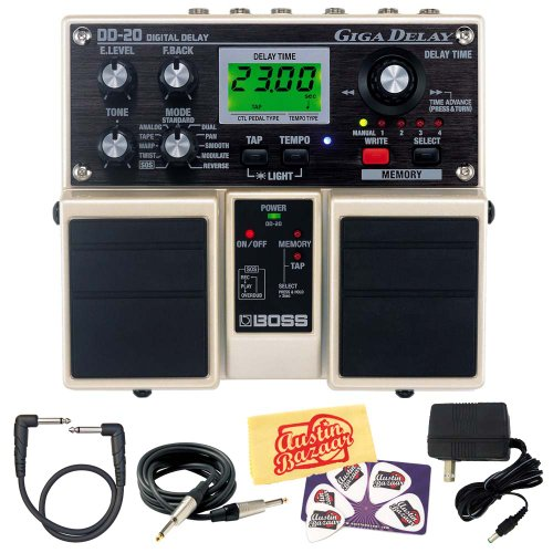 Boss DD-20 Giga Delay Guitar Effects Pedal Bundle with Power Supply, Instrument Cable, Patch Cable, Picks, and Austin Bazaar Polishing Cloth (20 Guitar Effects)