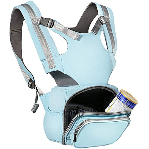 GeekPaPa 4-in-1 Front Facing Baby Carrier Diaper Backpack with Supportive Ergonomic Seat for Newborn Infants, Babies (Light-Blue, 6-36 Months Old, 20kg/44LB)
