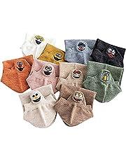 teyiwei 10 paar damessokken - Kawaii grappige uitdrukking katoen geborduurde meisjes sokken (willekeurige kleur)