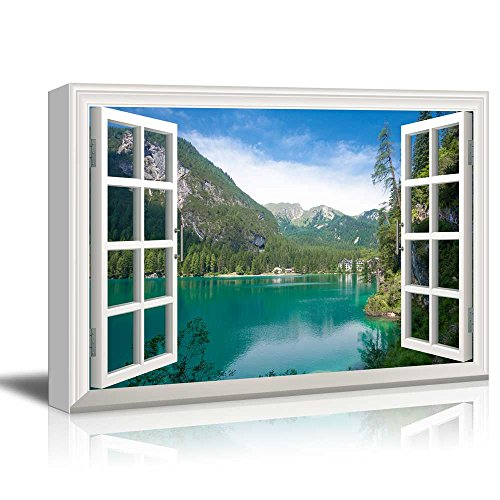 Window View Nature Landscape with Lake and Forest in Mountains