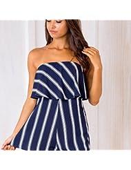 TraveT Women Off Shoulder Romper Printed Striped Beach Short Rompers Jumpsuits