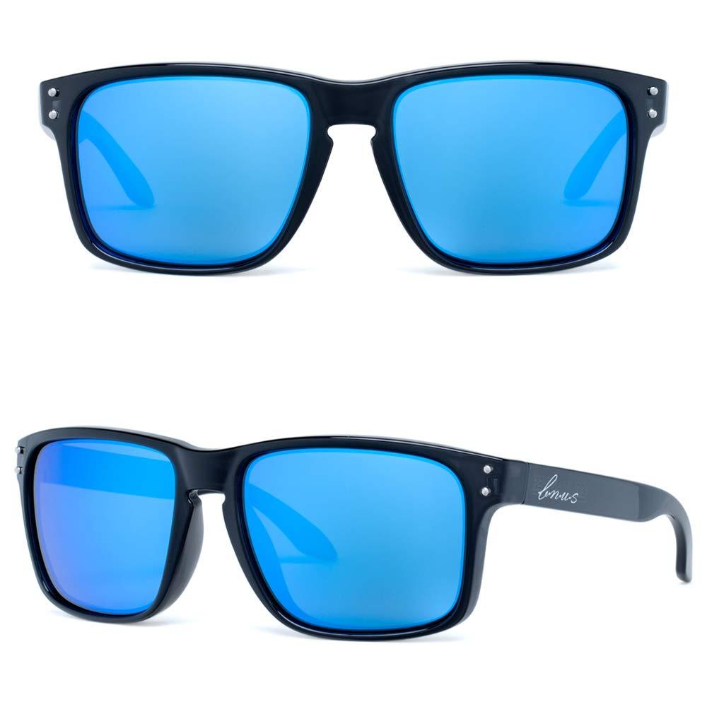 Bnus commander XL polarized sunglasses for men blue flash corning real glass lenss (Black/Blue Flash Polarized 59mm(XL), Never Scratch Mirror Coating)