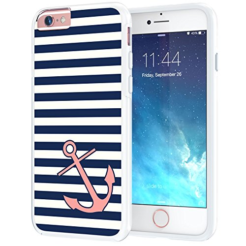 iPhone 6 6s Case, True Color Nautical Coral Anchor on Stripes Printed on Clear Transparent Hybrid Cover Hard + Soft Slim Thin Durable Protective Shockproof TPU Bumper + Stylus +Screen Protector White