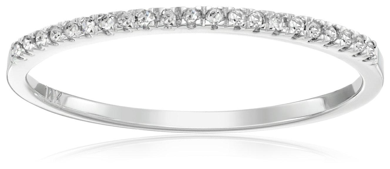 Dazzlingrock Collection 0.08 Quilates (ctw) 10k Oro Redondo Blanco Diamante Damas Dainty Anniversary Wedding Band Anillo Apilable