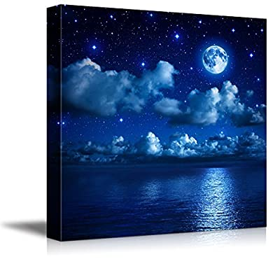 Canvas Prints Wall Art - Full Moon Shining Over Water | Modern Wall Decor/Home Decoration Stretched Gallery Canvas Wrap Giclee Print. Ready to Hang - 16