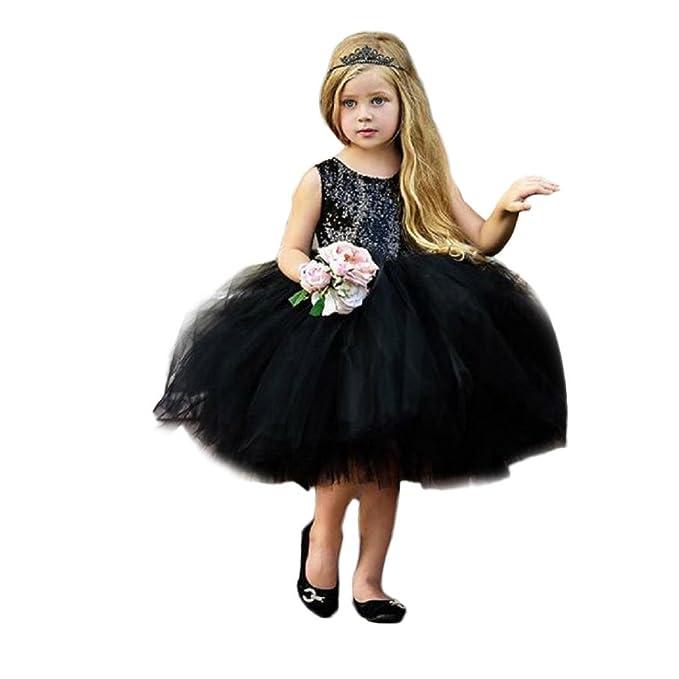 Niña princesa vestido,Sonnena lentejuelas vestido sin manga para elegante niñas Lindo tutú vestido de