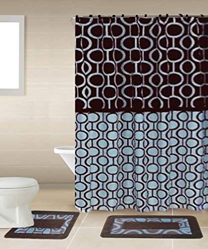 Marion Brown Blue 15 Piece Bathroom Accessory Set 2 Bath Mats Shower Curtain 12 Fabric Covered Rings