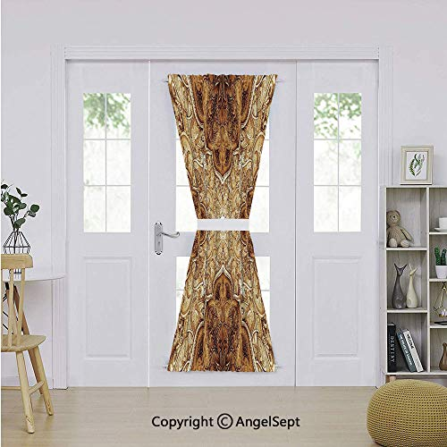 Door Curtain Panel Room Darkening Blackout Curtain Drapes 54 x 72 Inch with Rod Pocket for Glass Door - 1 Panel,Antique,Vintage Style Leaf Pattern Classic Islamic Architectural Elements Folk Artwork,B ()