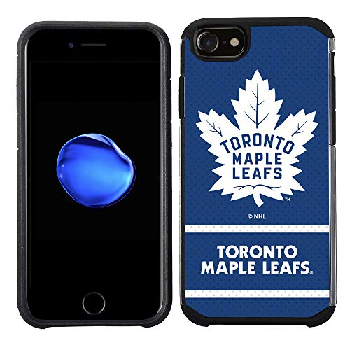 Apple iPhone 8/ iPhone 7/ iPhone 6S/ iPhone 6 - NHL Licensed Toronto Maple Leafs Blue Jersey Textured Back Cover on Black TPU Skin ()